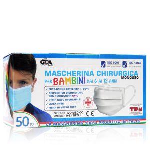 GDA Mascherine Bambini 6-12 Anni 50 Pezzi Prodotte in Italia