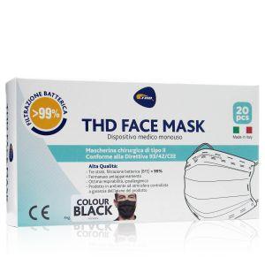 Thd Face Mask Mascherine 20 Pezzi Colore Nero Made In Italy