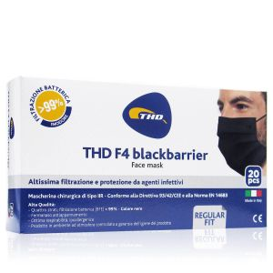 Thd Face Mask F4 Blackbarrier Mascherine 4 Strati 20 Pezzi Colore Nero Made In Italy