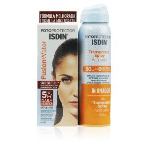 Isdin Fusion Water SPF 50 + Omaggio Transparent Spray Wet Skin
