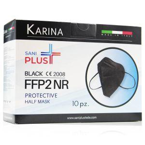 Sani Plus Karina Mascherine Protettive FFP2 Nere 10 Pezzi Made in Italy