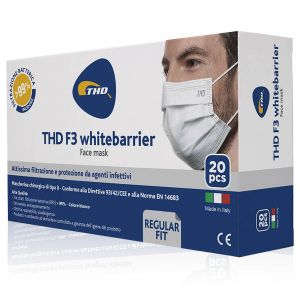 Thd Face Mask F3 Whitebarrier Mascherine 3 Strati 20 Pezzi Colore Bianco Made In Italy