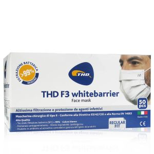THD F3 Whitebarrier Mascherine 3 Strati 50 Pezzi Colore Bianco Made In Italy